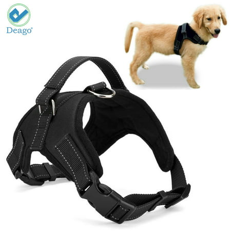 "Deago No Pull Dog Harness Reflective Safety Pet Vest Adjustable Dog Harness With Handle for Small/Medium/Large dogs Outdoor Training Walking Traveling ""Black"" ""Size XXL"""