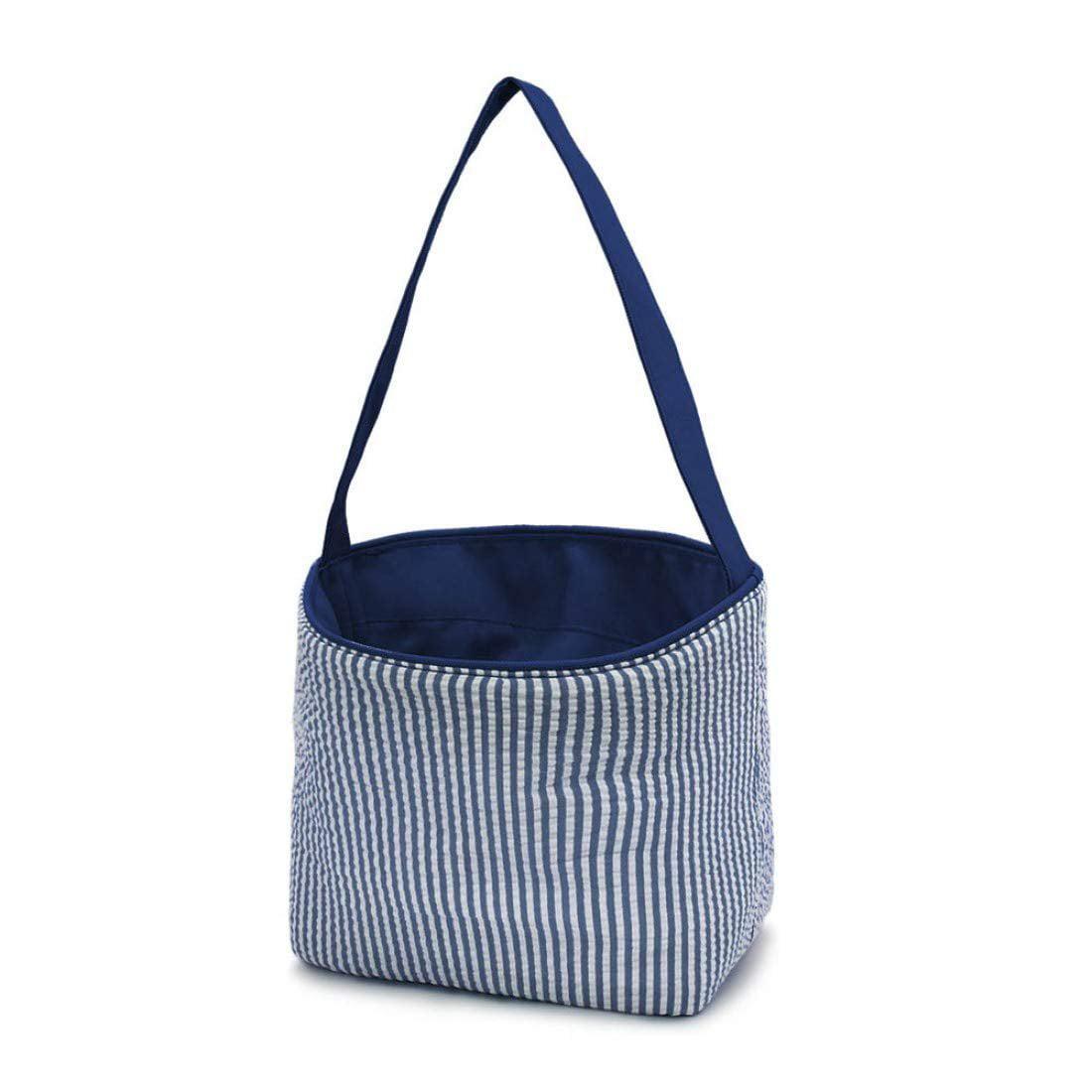 Seersucker Medium Fabric Easter Basket Bucket Tote Bag Pink No