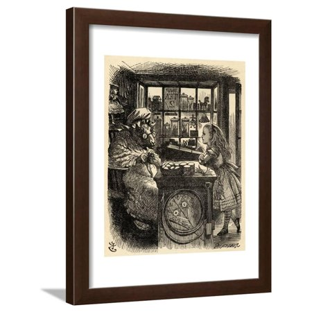 Alice and the Knitting Sheep, Illustration from 'Through the Looking Glass' by Lewis Carroll… Framed Print Wall Art By John Tenniel](Through The Looking Glass White Queen)