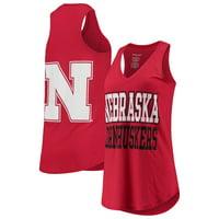 Nebraska Cornhuskers Women's Two-Hit At Ease V-Neck Tank Top - Scarlet