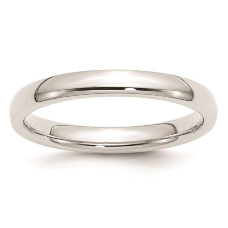 14k White Gold Machined 3mm Standard Comfort Fit Wedding Band Ring Size 4 Machine Other Standard