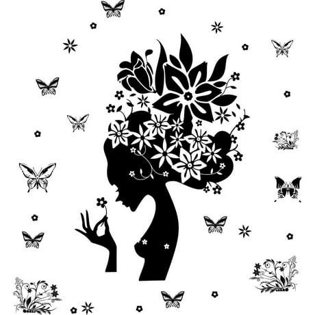 Lady motif fleur papillon auto adh sif autocollant for Decalque mural