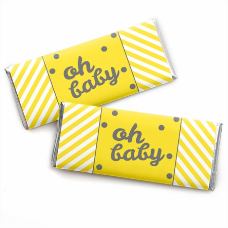 Hello Little One - Yellow and Gray - Neutral Baby Shower Candy Bar Wrappers Party Favors - Set of 24