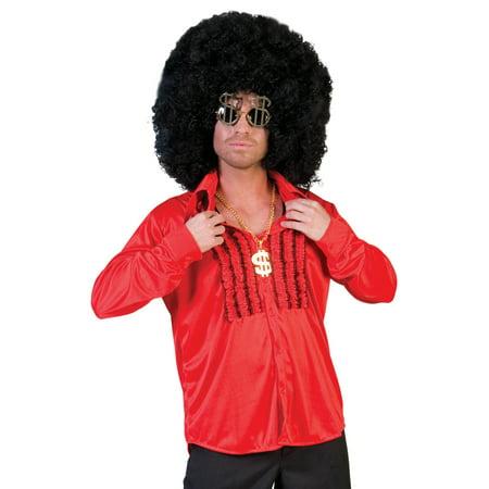 Funny Fashion Retro 60s 70s Disco Costume Red Ruffle Pirate - 60s Disco