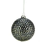 "Northlight 5"" Rivet Gem Glass Ball Christmas Ornament - Gun Metal Gray"