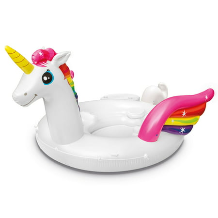Intex 57266EP Adult Inflatable Unicorn Party Island Pool Lounger Float, White - Unicorn Flats