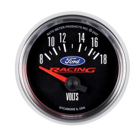 AutoMeter 880081 Ford Racing Series Electric Voltmeter Gauge; 2-1/16 in.; Black Dial Face; Fluorescent Red Pointer; White LED Lighting; Electric Air-Core; -