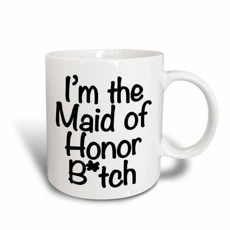 3dRose Im the maid of honor btch, Black, Ceramic Mug, 11-ounce