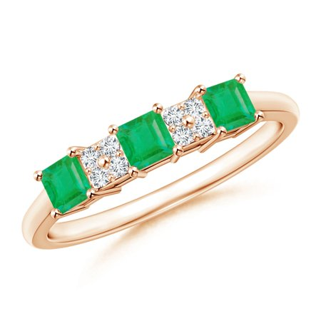 May Birthstone Ring - Diamond Cluster and Three Stone Square Emerald Ring in 14K Rose Gold (3mm Emerald) - SR1128ED-RG-A-3-7