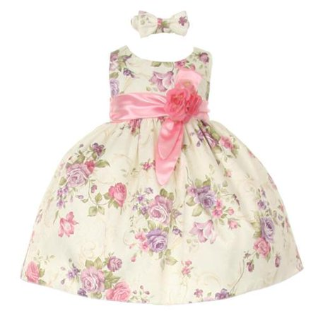 Baby Girls Pink Ivory Floral Printed Jacquard Sash Hair Bow Dress 6M Pink Floral Jacquard