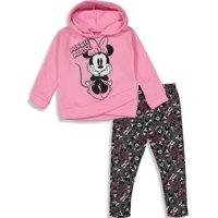 Disney Minnie Mouse Toddler Girls' 2-Piece Fleece Hoodie & Legging Set, Pink Glitter 4T