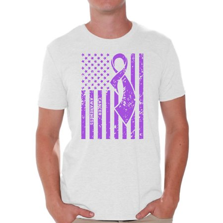 Purple For Cancer (Awkward Styles Men's Cancer Awareness Graphic T-shirt Tops Purple)