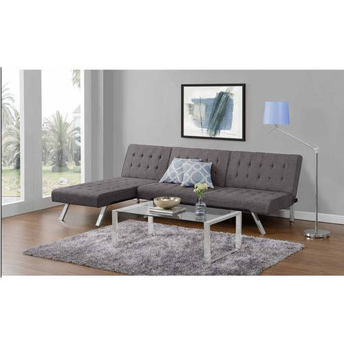 Emily Convertible Futon with Chaise Lounger, Multiple Colors