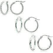 Sterling Silver 15mm Diamond-Cut Hoop Earring Set