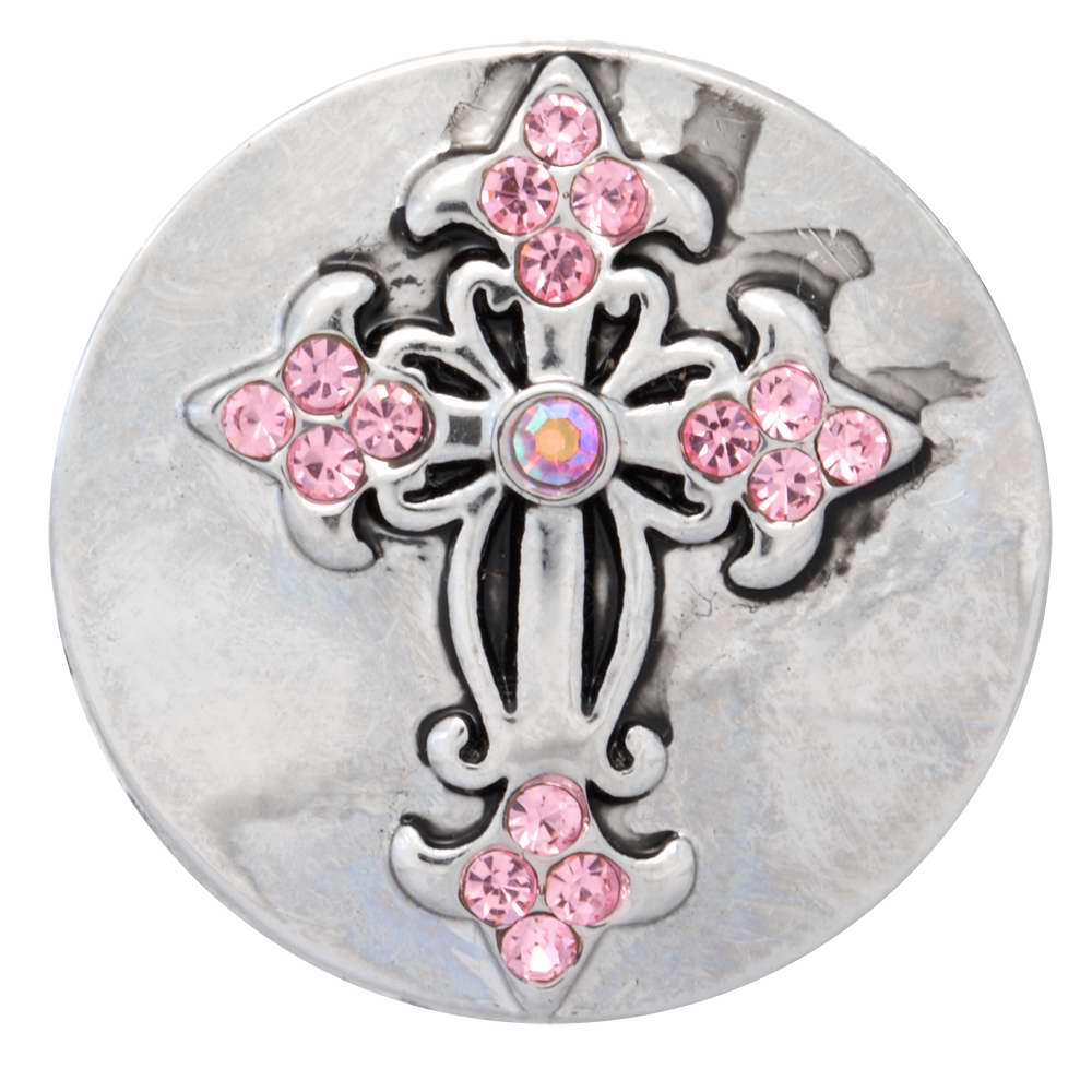 NUGZ Jewelry 73796 Charm-Nugz Snap On-Exotic Crystal Cross, Pink