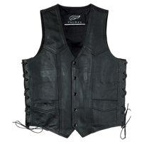 Men's Fulmer Side Lace Leather Vest w/ Gun Pocket Black Motorcycle Vest Riding