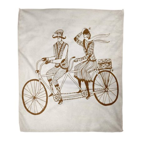 LADDKE Throw Blanket Warm Cozy Print Flannel Retro Gentleman Mustaches and  Lady in Tweed Costumes on Tandem Bicycle Comfortable Soft for Bed Sofa and