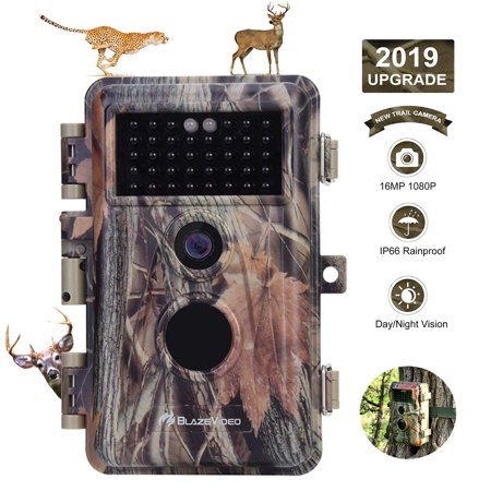 BlazeVideo Game Trail Camera Night Vision 16MP HD 1920x1080P Video Hunters Wildlife Hunting Cam No Glow IR LED PIR Motion Sensor Activated IP66 Waterproof & Password Protected Photo & Video