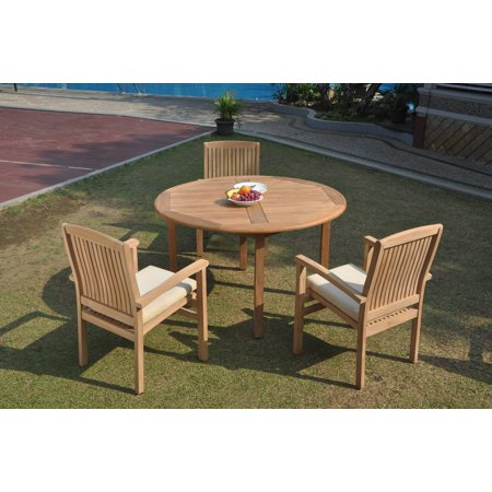 52 Round Table.Grade A Teak Dining Set 3 Seater 4 Pc 52 Round Table And 3 Wave Stacking Arm Chairs Outdoor Patio Wholesaleteak Wmdswvm