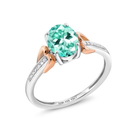 Apatite Diamond Ring (1.19 Ct Oval Blue Apatite 925 Silver with 10K Rose Gold Diamond Accent)