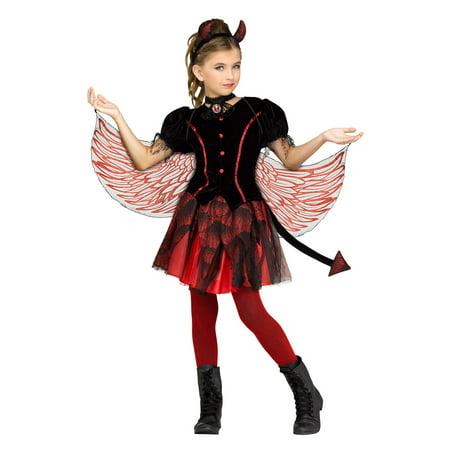 Girl Demon Costume (Fiery Devil Girls Child Demon Winged Devil Halloween)
