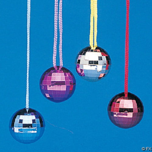 Fun Express Assorted Color Disco Ball Necklaces 2-Pack of 12