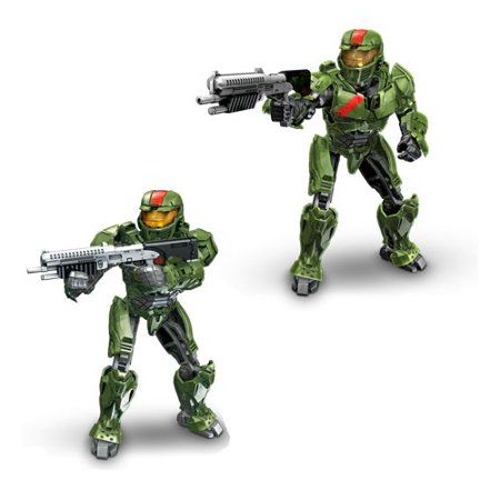 Megabloks Green Spartan (Red team) with Battle Rifle, Magnetic action figure based on the super soldier Spartans from the award-winning Halo video game series! By Mega Bloks Ship from (Life Size Halo Assault Rifle For Sale)