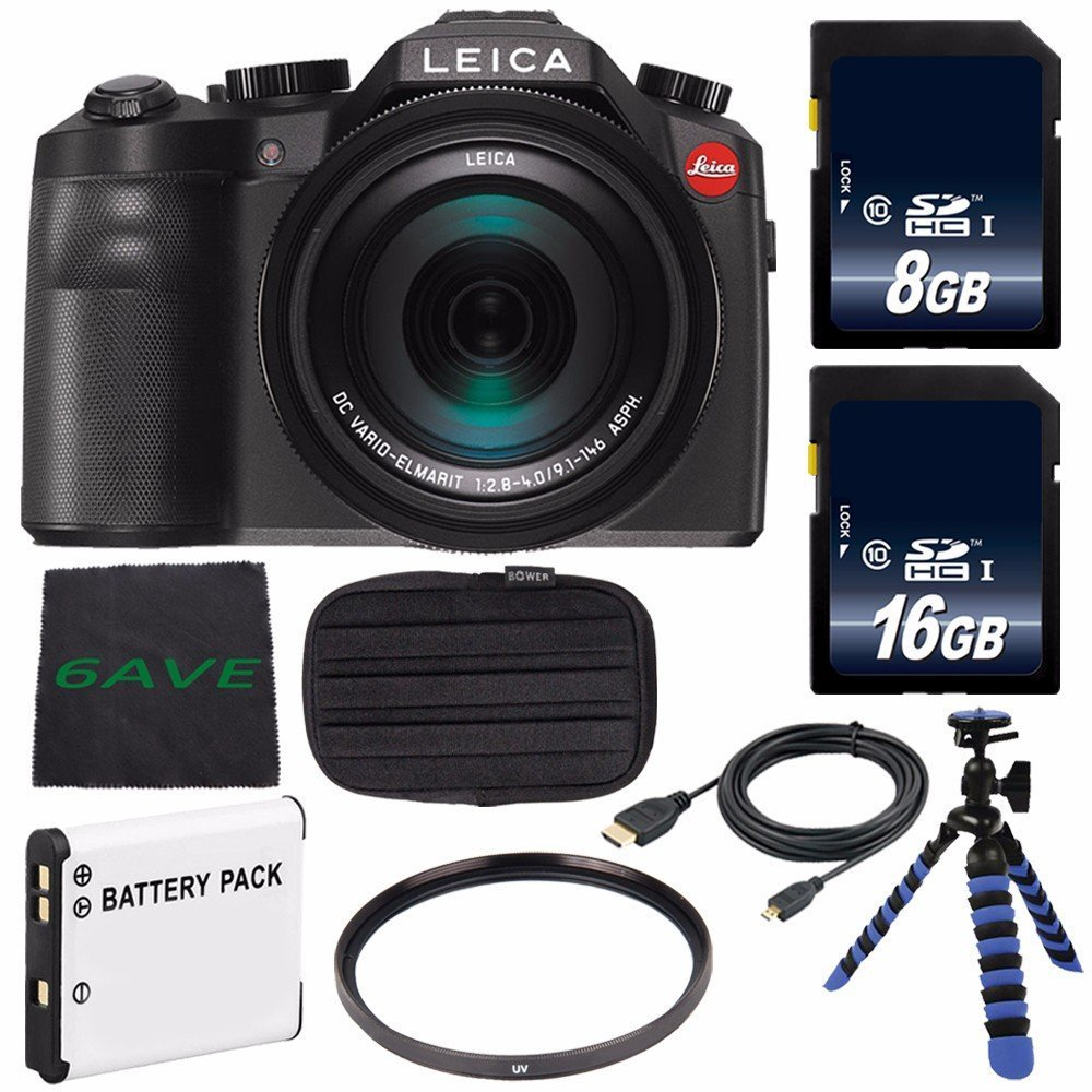 Leica V-LUX (Typ 114) Digital Camera (International Model no Warranty) + Replacement Lithium Ion Battery + Flexible Tripod with Gripping Rubber Legs + Mini HDMI Cable Bundle 25