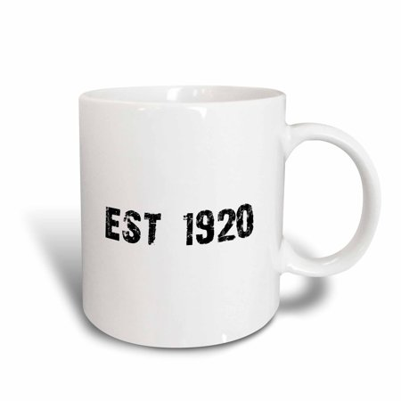 3dRose Grunge Est Established in 1920 - Twenties Baby Born Child of the 1920s - Personal custom birth year, Ceramic Mug, 11-ounce - Custom Kid