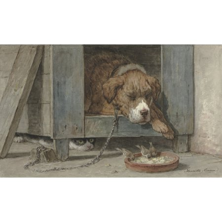 Cat Spies Birds While A Dog Sleeps Poster Print