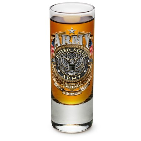 Shot Glasses – Armed Forces Gifts for Men or Women – Army Men American Soldier Shot Glasses – Army Gold Shield Glass Shot Glasses with Logo - Set of 4 (2