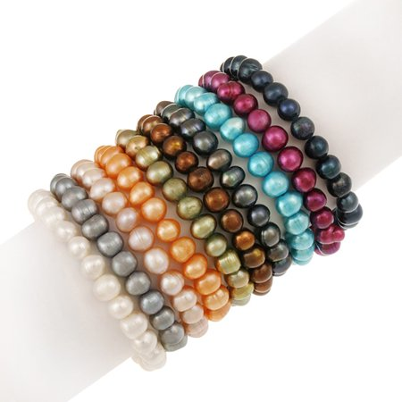 8mm x 6mm Genuine Freshwater Cultured Multi-Color Pearl Stretch Bracelets, Set of (Labradorite Pearl Bracelet)