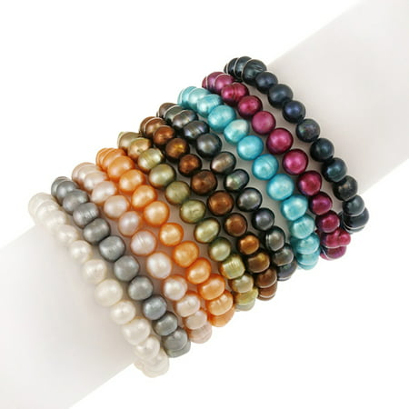 Real Pearl Bracelet - 8mm x 6mm Genuine Freshwater Cultured Multi-Color Pearl Stretch Bracelets, Set of 10