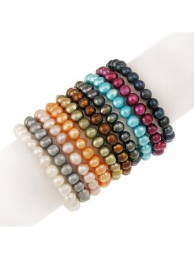 8mm x 6mm Genuine Freshwater Cultured Multi-Color Pearl Stretch Bracelets, Set of 10