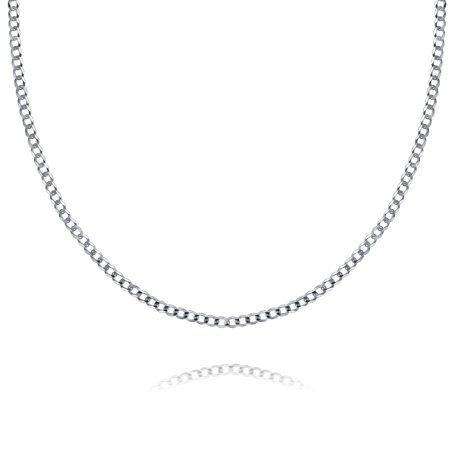 78a8406253dbb Solid Curb Cuban Link Chain 080 Gauge For Women For Men Necklace 925  Sterling Silver Made In Italy 18 Inch