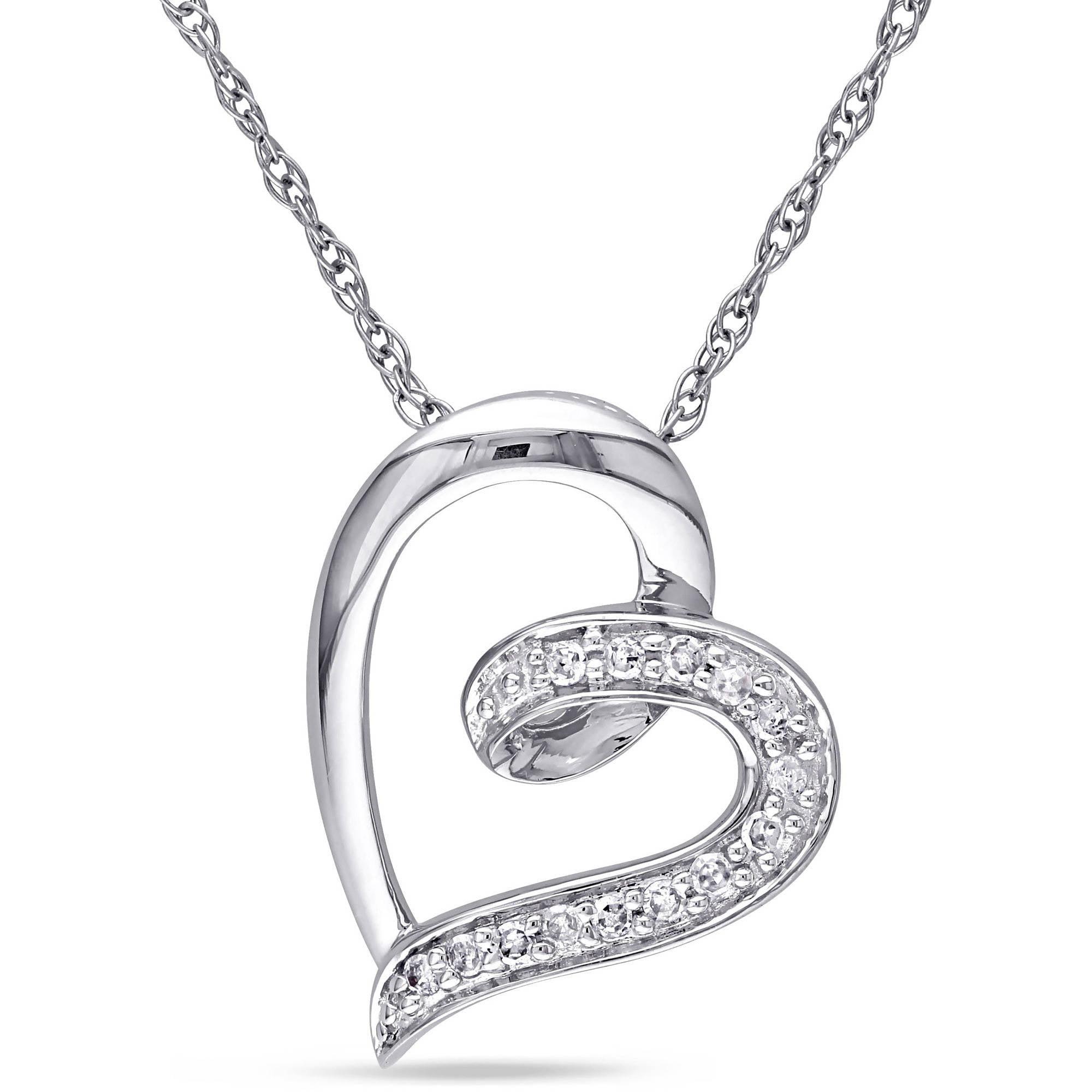 Miabella Diamond Accent 10kt White Gold Heart Pendant, 17