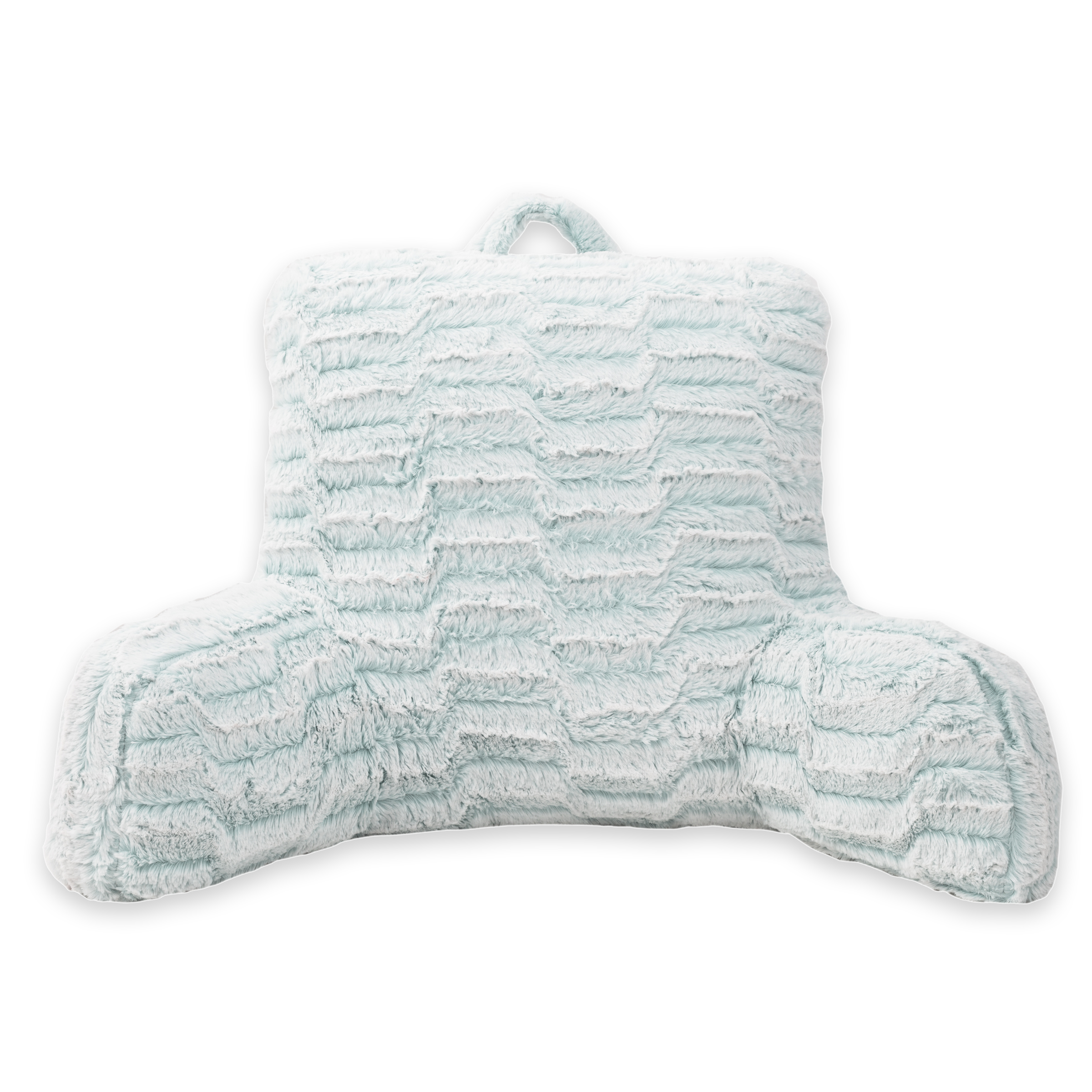 Arlee Nevada Faux Fur Bedrest Backrest Pillow Lounger, Teal Cloud Blue