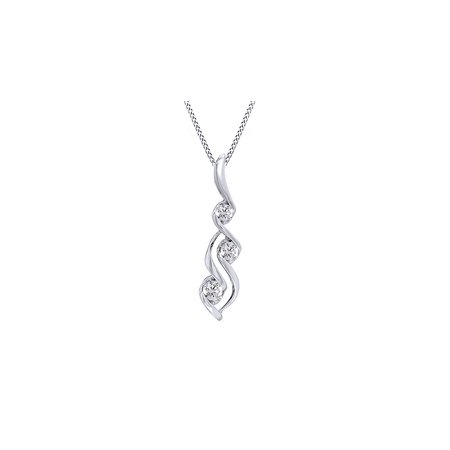 14K Solid White Gold White Natural Diamond Three Stone Pendant Necklace