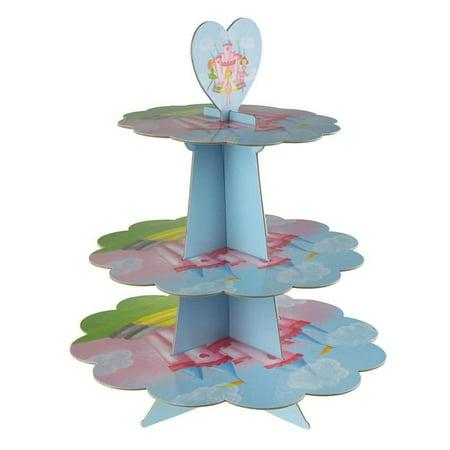 Cupcake Cardboard Stand (Princess Cardboard Cupcake Stand, Pastel, 3-Tier,)