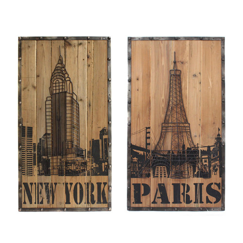 EC World Imports 2 Piece Handcrafted Cedar Wood New York Paris Connection Hanging Art Wall Decor Set by ecWorld