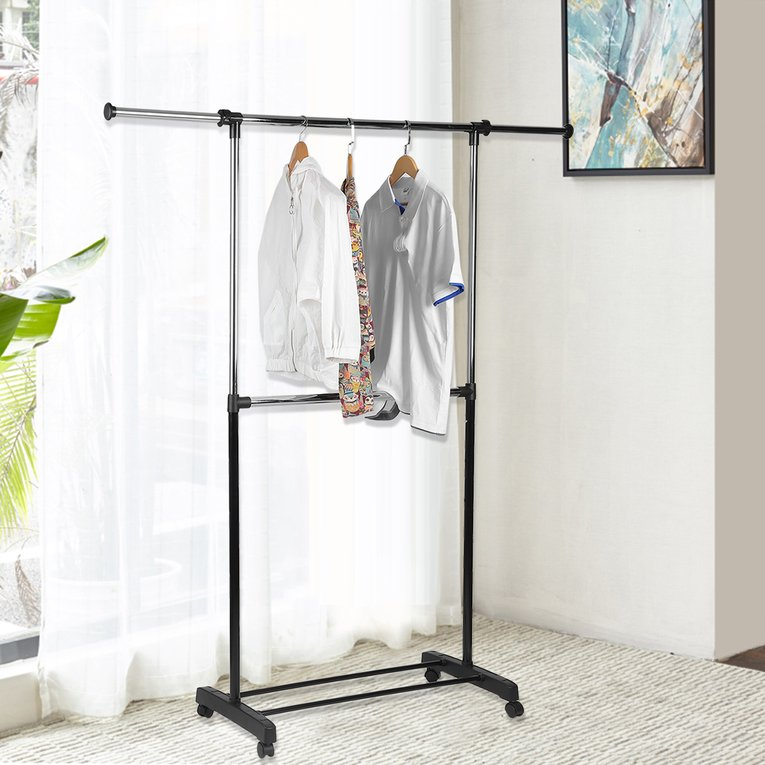 Whitmor Adjustable 2-Rod Garment Rack Black & Chrome