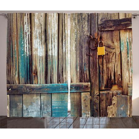 Rustic Curtains 2 Panels Set, Aged Shed Door Backdrop with Color Details Country Living Exterior Pastoral Mansion Image, Window Drapes for Living Room Bedroom, 108W X 84L Inches, Brown, by Ambesonne
