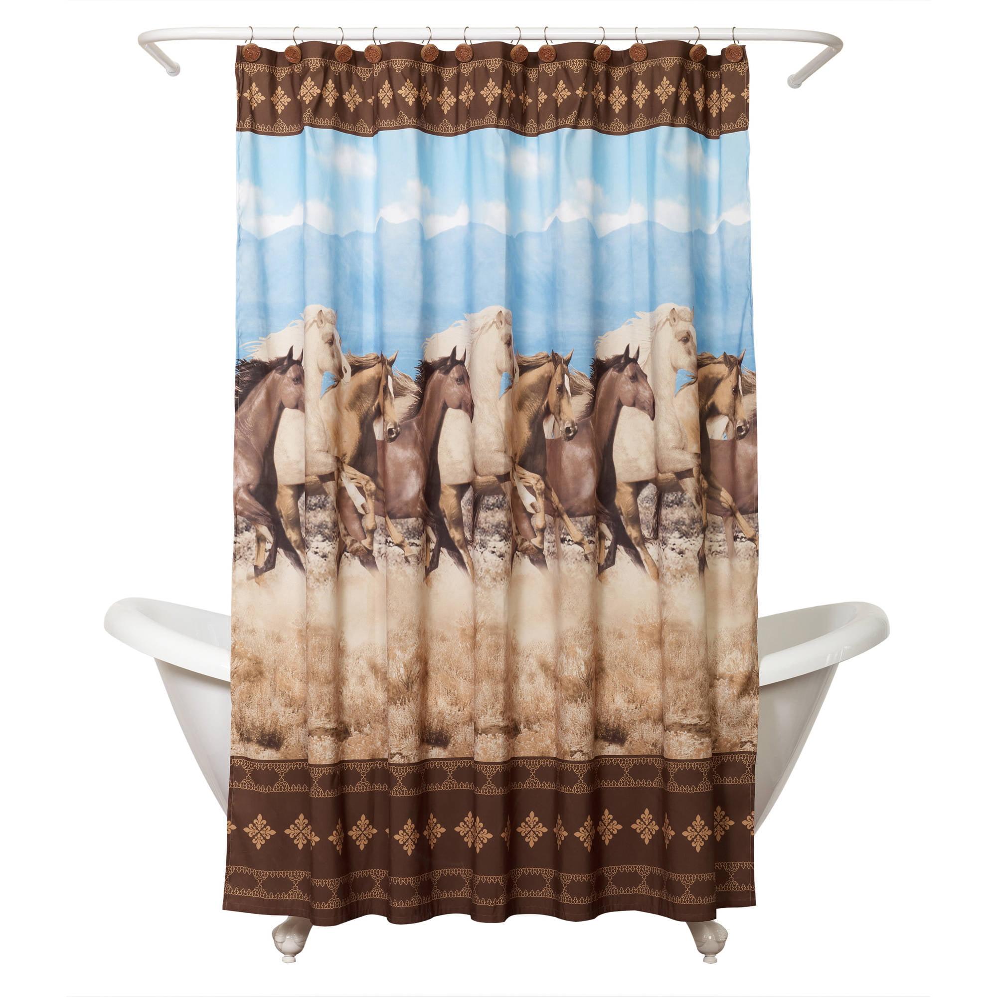 Zenna Home Running Free Shower Curtain, Western/Horses