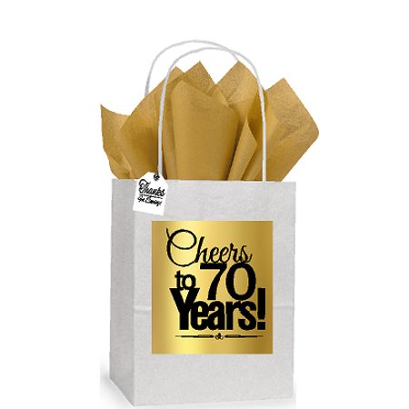 70th Cheers Birthday Anniversary White And Gold Themed Small Party Favor Gift Bags Stickers Tags 12pack
