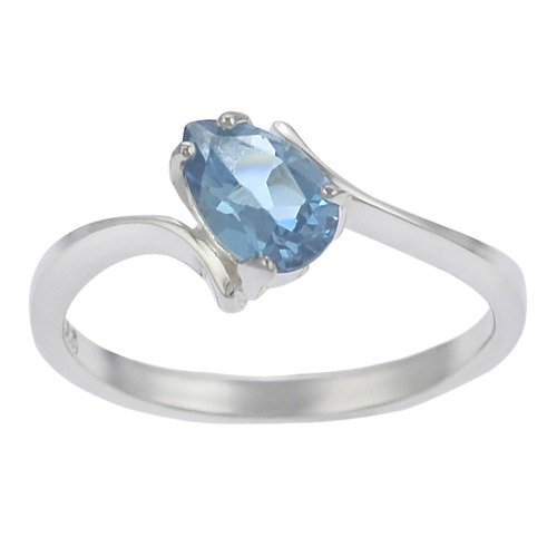 Skyline Silver Sterling Silver Pear-cut Blue Topaz Solitaire Ring