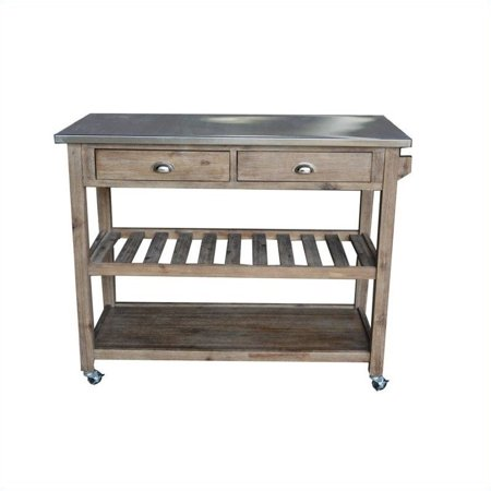 Boraam Industries Sonoma Wire Brush Kitchen Cart Gray  New