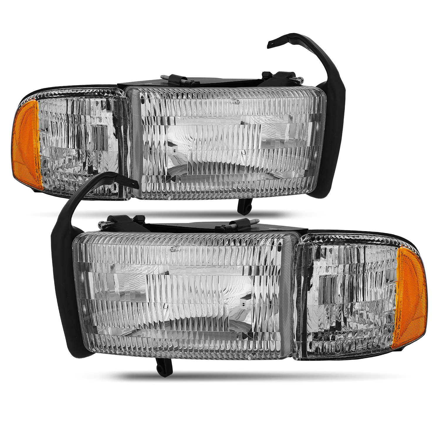 For 02-05 Dodge Ram Pickup Headlights Headlamp Left+Right Amber Corner Head Lamp