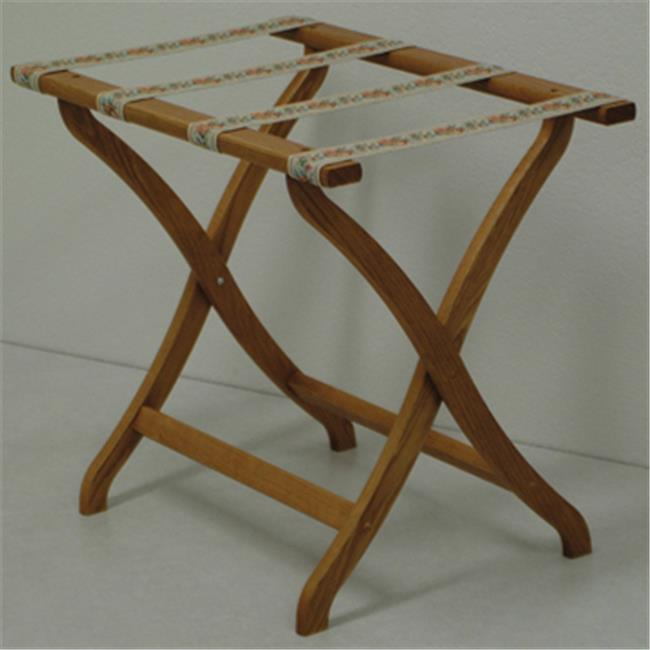 Wooden Mallet LR3-MOTAP Designer Curve Leg Luggage Rack in Medium Oak with Tapestry Webbing - 3.75 in.