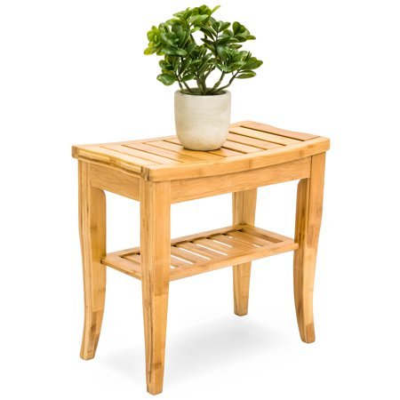 Best Choice Products Bamboo Bathroom Shower Seat Bench Stool w/ Storage (Best Shower Seat Ideas)