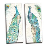 Gango Home Decor Contemporary Peacock Garden III & Peacock Garden IV by Anne Tavoletti (Ready to Hang); Two 8x20in Hand-Stretched Canvases